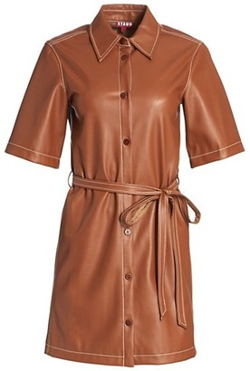 STAUD Blaze Faux-Leather Belted Dress