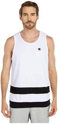 Champion LIFE Pieced Jersey Tank (White/Black) Men's Clothing