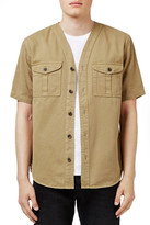 Topman Washed Khaki Denim Baseball Shirt