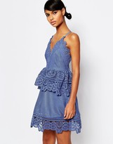 Self-Portrait Self Portrait Lace Trimmed Mini Dress with Strap Back Detail