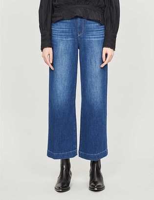 Paige Anessa cropped high-rise wide-leg jeans
