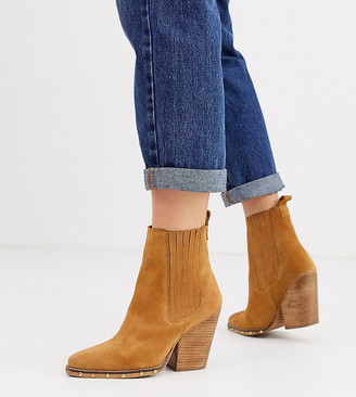 ASOS DESIGN Wide Fit Relative suede studded heeled western boots
