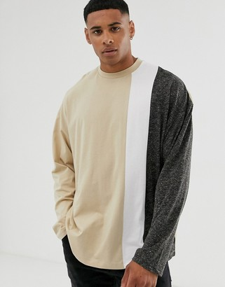 Asos DESIGN oversized long sleeve t-shirt in linen mix with vertical color block