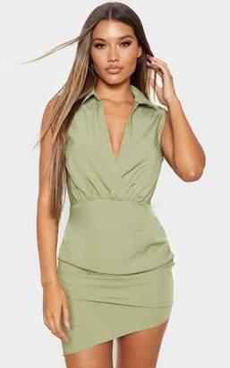 PrettyLittleThing Olive Khaki Sleeveless Ruched Drape Shirt Dress