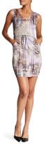 Komarov Mesh Trim Printed Drawstring Dress