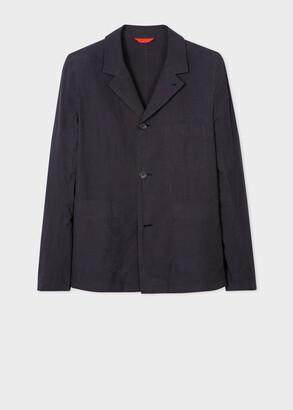 Paul Smith Mens Navy Slub-Cotton Chore Jacket With Convertible Collar