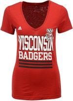 adidas Women's Wisconsin Badgers Stripe Stack T-Shirt