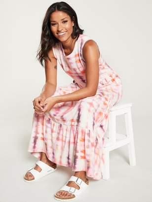 Very Tie Dye Frill Jersey Midi Dress - Pink
