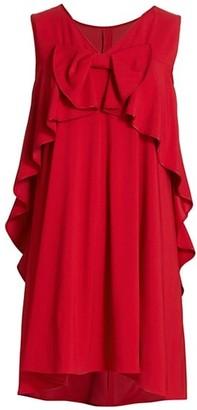 RED Valentino Cady Ruffle Bow-Back Satin Dress