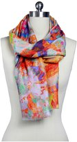 Saachi Abstract Watercolor Scarf, Coral - Coral