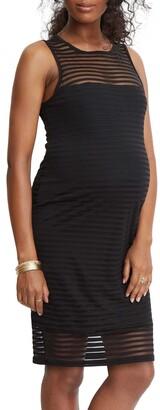 Stowaway Collection Shadow Stripe Maternity Sheath Dress
