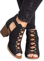 Liyuandian Womens Platform Open Toe Ankle Strap Zipper Back High Heel Sandal