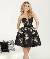 Hannah S - Strapless Sweetheart Stretch Satin Floral A-line Skirt 27103