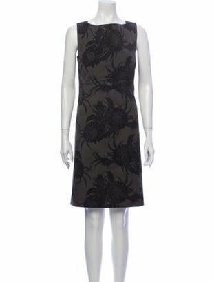 Prada Floral Print Knee-Length Dress Green