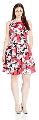 Gabby Skye Women's Plus Size Sleeveless Round Neck Scuba A-line Dress