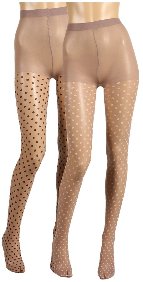 Betsey Johnson 2 Pack Hot Dot Sheer Tight (Taupe/Black/Taupe/White) - Hosiery
