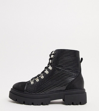 Glamorous Wide Fit flat hiker boots in black croc mix