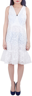 Marchesa Voyage White Floral Embroidered Lace Sleeveless Flounce Hem Dress S