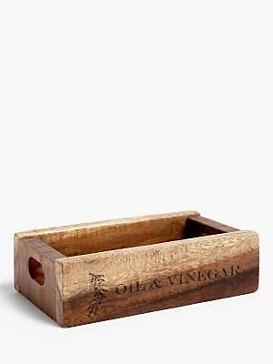 John Lewis & Partners Oil & Vinegar Acacia Wood Crate, Natural