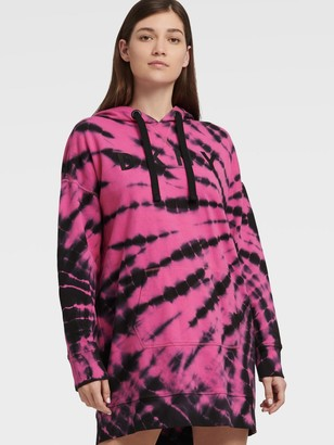 DKNY Women's Tie Dye Long Sleeve Embroidered Logo Sneaker Dress - Rebel - Size S