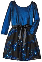 Us Angels 3/4 Sleeve Keyhole Back w/ Full Skirt (Big Kids)