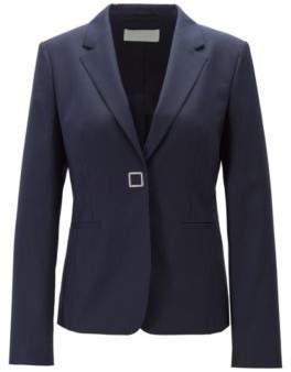 BOSS Slim-fit jacket in patterned virgin wool