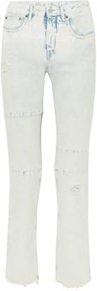 MM6 MAISON MARGIELA Distressed Printed Mid-rise Straight-leg Jeans