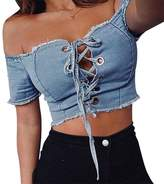 Nation Ltd. ☪Nation Womens Summer Bandage Cowboy Blouse Casual Crop Top T-Shirt (L, )