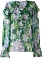 Dolce & Gabbana hydrangea print ruffled blouse - women - Silk - 42