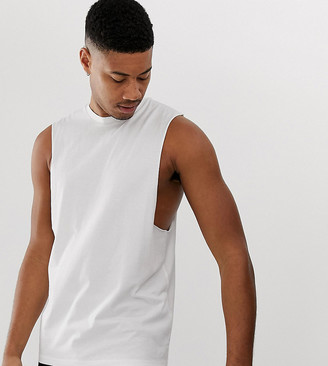 Asos Design DESIGN Tall organic relaxed sleeveless t-shirt with crew neck and dropped armhole in white