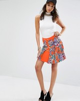 Versace Printed Lace Up Chain Pleated Skirt