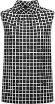 Oscar de la Renta Printed silk-blend crepe blouse