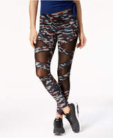 Jessica Simpson The Warm Up Printed Mesh-Inset Leggings