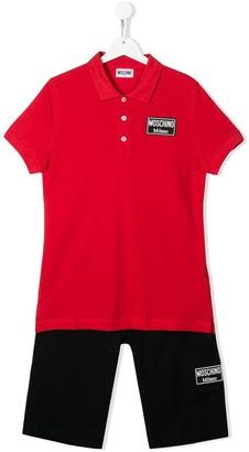 MOSCHINO BAMBINO Milano logo patch trouser set