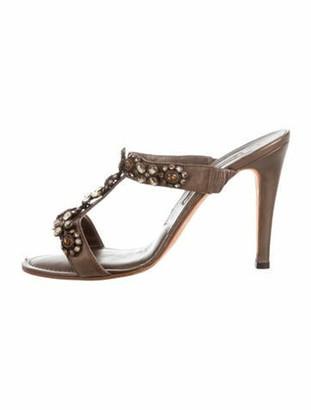 Manolo Blahnik Leather Crystal Embellishments T-Strap Sandals Gold