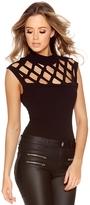 Quiz Black Laser Cut Short Sleeve Bodysuit