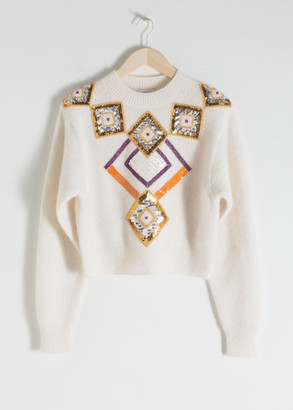 And other stories Embellished Cropped Sweater