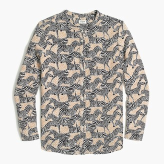 J.Crew Band collar button-up top in animal print