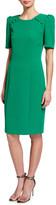 Badgley Mischka Short-Sleeve Sheath Dress w/ Buttons