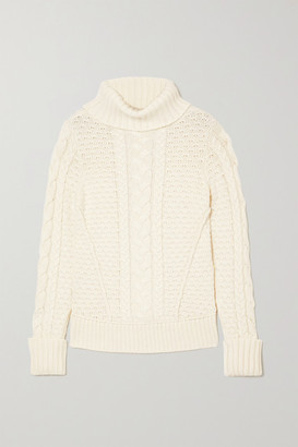 Veronica Beard Sereia Cable-knit Turtleneck Sweater - Ivory
