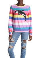 Wildfox Couture Rainbow Stripe Whale Print Knit Pullover
