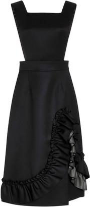 Miu Miu Ruffled Wool Midi Dress