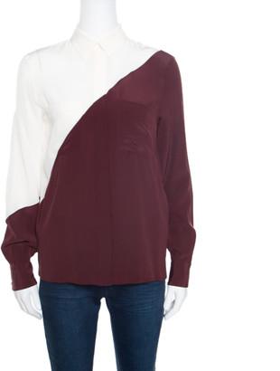 Fendi Colorblock Silk Long Sleeve Blouse S