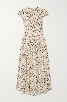 Reformation Gavin Cutout Floral-print Crepe Midi Dress - Ivory