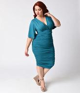 Kiyonna Plus Size Teal Ruched Rumor Wiggle Dress
