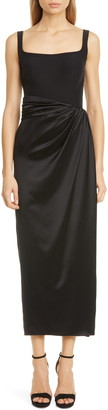 Brandon Maxwell Bustier Satin Skirt Silk Sheath Dress