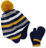 Cuddl Duds Toddler Striped Hat & Mitten Set