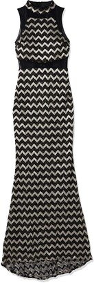 Betsy & Adam Women's Long Chevron Lace with Mesh Inserts Black/Silver 12