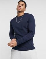 Asos Design ASOS DESIGN long sleeve t-shirt with crew neck in navy