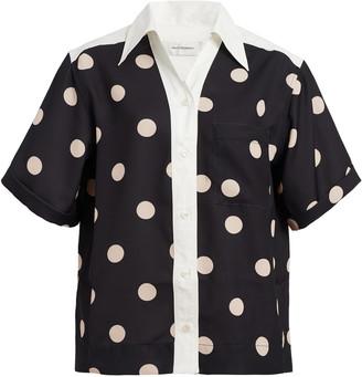Wales Bonner Havana Polka-Dot Print Satin Shirt